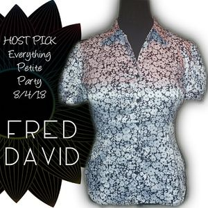 PETITE: HP!🎉FRED DAVID Button-Front Satin Blouse
